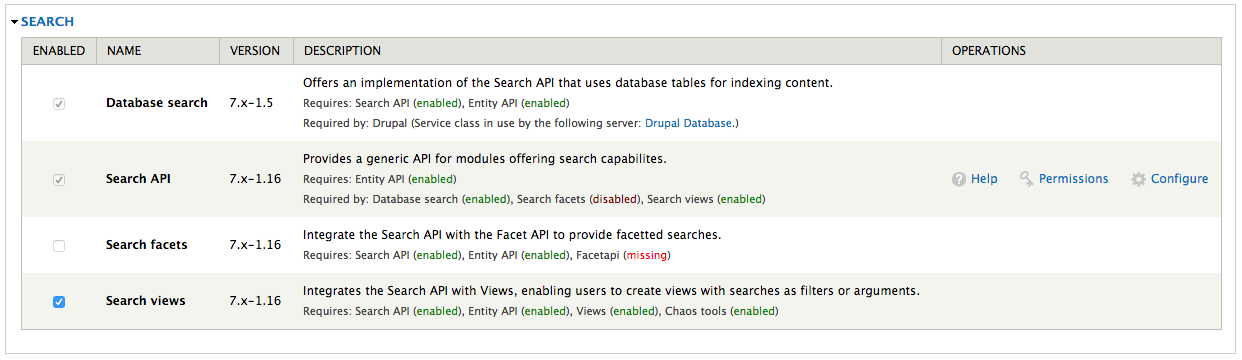 Screenshot Modules enable page with Database Search, Search API and Search views enabled.